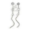 Statement Clear Crystal Linear Drop Earrings In Silver Tone Metal - 10cm L