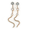 Statement Clear Crystal Linear Drop Earrings In Gold Tone Metal - 10cm L