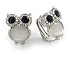 Crystal Owl Clip On Earrigns In Silver Tone (Clear/ Blue) - 17mm Tall