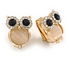 Crystal Owl Clip On Earrigns In Gold Tone (Clear/ Blue) - 17mm Tall