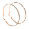 60mm Large Hoop Earrings In Rose Gold Tone Metal with Glitter Effect