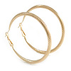 60mm Large Textured Thick Hoop Earrings In Gold Tone Metal