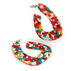 Trendy 'Burst of Colour' Effect Multicoloured Acrylic/ Plastic/ Resin Oval Hoop Earrings - 50mm L