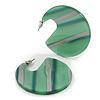 Trendy Green/ Silver Stripy Acrylic/ Resin Disk Earrings - 48mm Diameter
