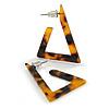 Trendy Tortoise Shell Effect Brown/ Black Acrylic/ Plastic/ Resin Triangular Hoop Earrings - 38mm L