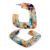 Trendy 'Burst of Colour' Effect Multicoloured Acrylic/ Plastic/ Resin Square Hoop Earrings - 55mm L
