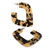 Trendy Tortoise Shell Effect Black/ Beige Acrylic/ Plastic/ Resin Square Hoop Earrings - 55mm L