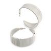 50mm Large Off White with Grey Pattern Wide Acrylic Hoop Earrings