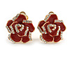 Romantic Red Enamel Clear Crystal Rose Clip On Earrings In Gold Tone - 20mm Diameter