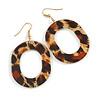Stylish Animal Print Acrylic Oval Hoop Earrings In Gold Tone - 65mm Long