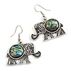 Vintage Inspired Elephant with Abalon Shell Drop Earrings In Aged Silver Tone - 40mm Long