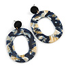 Trendy Oval Acrylic Hoop Earrings (Dark Blue/ Cream) - 60mm Long
