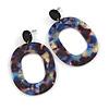 Trendy Multicoloured Acrylic Oval Hoop Earrings - 60mm Long
