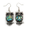 Vintage Inspired Owl with Abalon Shell Drop Earrings In Aged Silver Tone - 40mm Long