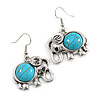 Vintage Inspired Elephant Shape with Turquoise Stone Drop Earrings In Silver Tone - 40mm Long