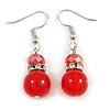 Red Glass Crystal Drop Earrings In Silver Tone - 40mm L
