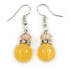 Yellow Glass Crystal Drop Earrings In Silver Tone - 40mm L