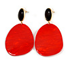 Statement Black/ Red Acrylic Curvy Oval Drop Earrings In Gold Tone - 75mm L