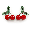 Sweet Crystal Red/ Green Cherry Stud Earrings In Silver Tone - 20mm Tall