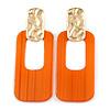 Statement Orange Square Hoop Earrings In Matt Gold Tone Metal - 70mm Long