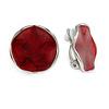 20mm Ox Blood Round Curvy Enamel Clip On Earrings In Silver Tone