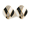 Black/ White Enamel Crystal Square Stud Earrings In Gold Tone - 20mm L