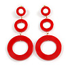 Long Triple Hoop Red Acrylic Drop Earrings with Gold Tone Post Closure - 95mm L