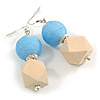 Unique Light Blue Thread Ball and Natural Wood Square Bead Drop Earrings - 70mm L