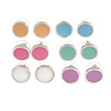 Set of 6 Pairs Button Stud Earrings In Silver Tone In Pastel Colours - 10mm Diameter