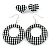 Two Pairs Black/ White Fabric Covered Gingham Checked Hoop and Heart Stud Earrings In Silver Tone - 60mm L/ 20mm L