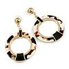 Black/ White Marble Effect Acrylic Hoop/ Drop Earrings In Gold Tone - 60mm L