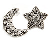 Vintage Inspired Crystal Moon And Star Mismatch Stud Earrings In Aged Silver Tone - 35mm Long