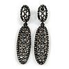 Statement Hematite Crystal Oval Drop Earrings In Black Tone - 75mm L