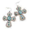 Vintage Inspired Large Crystal Turquoise Stone Cross Earrings In Silver Tone - 55mm L