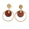 Stylish Gold Tone Slim Hoop Earrings with Wood Disk - 65mm Long