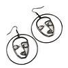 Quirky Crystal Face Hoop/ Drop Earrings In Black Tone - 70mm L