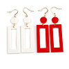 Set of 2 Pairs Square Acrylic Drop Earrings In White/ Red - 80mm L