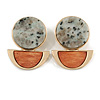 Statement Geometric Stone with Wood Drop Earrings In Gold Tone (Light Grey/ Brown) - 40mm L