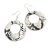 Snake Skin Effect Hoop Droop Earrings In Silver Tone (White/ Black) - 60mm L