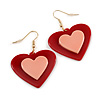 Red/ Pink Acrylic Large Heart Drop Earrings with Gold Hook Closure - 50mm L