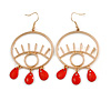 Trendy Red Bead Eye Hoop/ Drop Earrings In Gold Tone - 75mm L