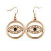 Gold Tone Crystal Eye Hoop Earrings - 45mm Long