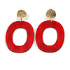 Red Acrylic Oval Hoop/ Drop Earrings with Marble Effect In Gold Tone - 65mm L