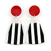 Red/ Black/ White Long Geometric Stripy Acrylic Drop Earrings with Glitter Effect - 9cm L