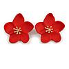 Red Matte Daisy Stud Earrings In Gold Tone - 30mm Diameter