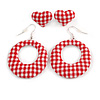 Two Pairs Red/ White Fabric Covered Gingham Checked Hoop and Heart Stud Earrings In Silver Tone - 60mm L/ 20mm L