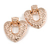 Large Hammered Heart Drop Clip On Earrings In Rose Gold Tone - 60mm L
