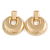 Large Round Textured Drop Earrings In Gold Tone - 60mm L