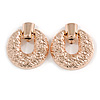 Large Round Hammered Clip On Earrings In Rose Gold Tone Metal - 60mm Long
