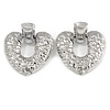 Large Hammered Heart Drop Clip On Earrings In Silver Tone - 60mm L